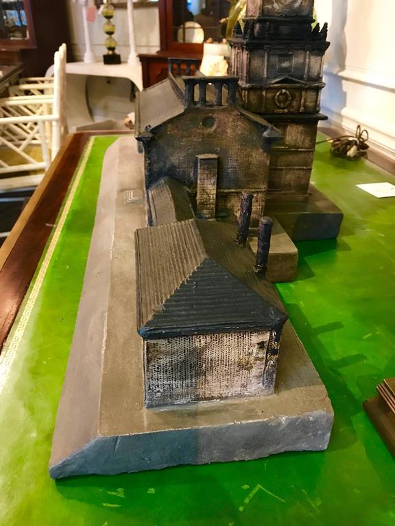 Vintage Polychromed Plaster Architectural Model Of