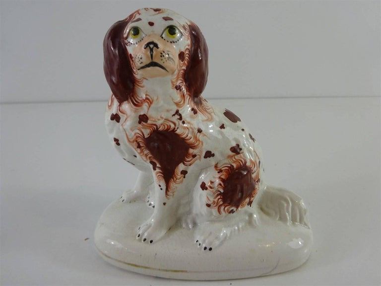 Rare Pair of Seated Red Staffordshire Spaniels on Oval Pedestal Bases 2