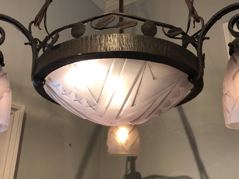 French Art Deco Chandelier In Excellent Condition For Sale In Atlanta, GA