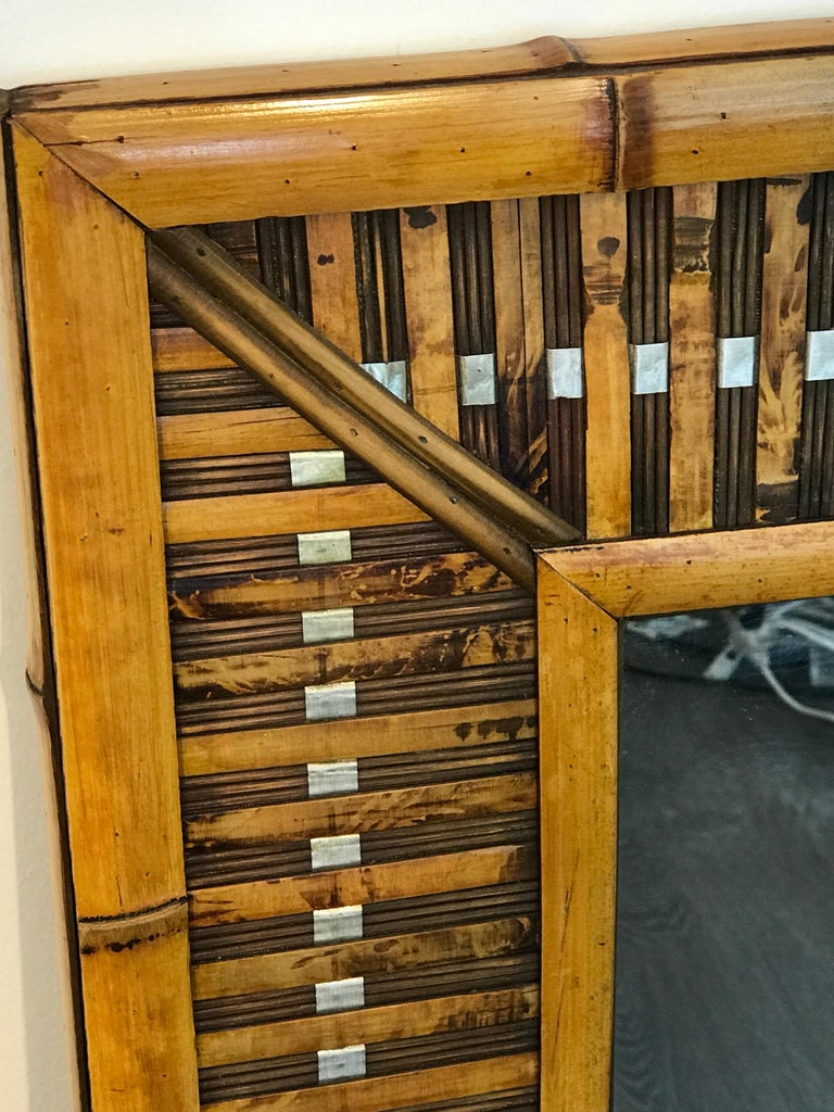 Polished Midcentury Bamboo and Inset Chrome Mirror For Sale