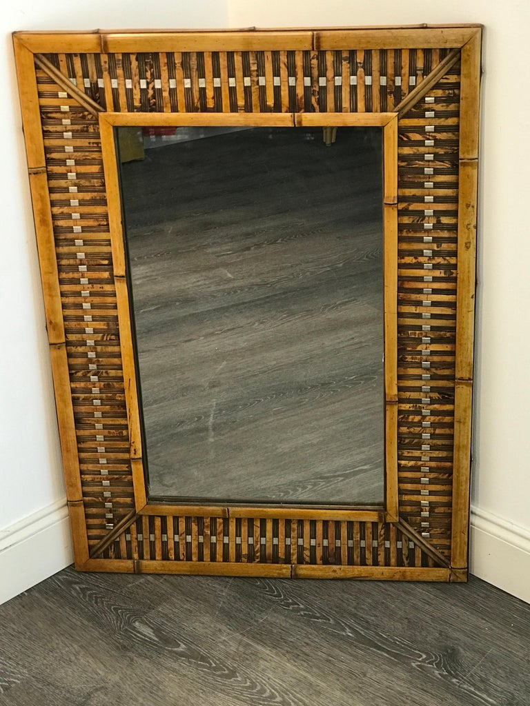 20th Century Midcentury Bamboo and Inset Chrome Mirror For Sale