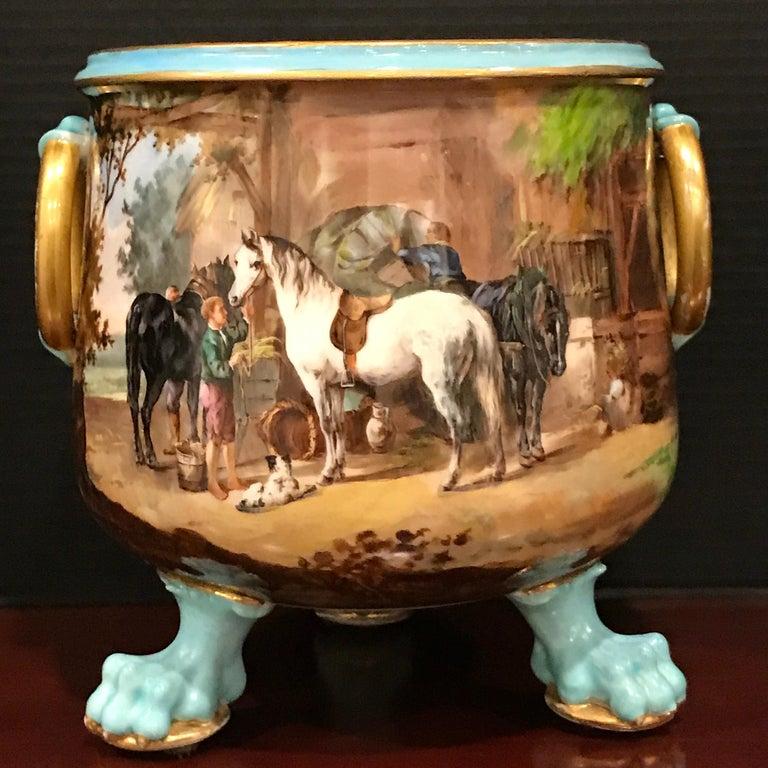 Hand-Painted Exquisite Mintons Barnyard Motif Cachepot For Sale