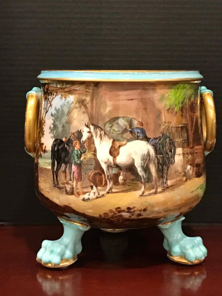 Porcelain Exquisite Mintons Barnyard Motif Cachepot For Sale