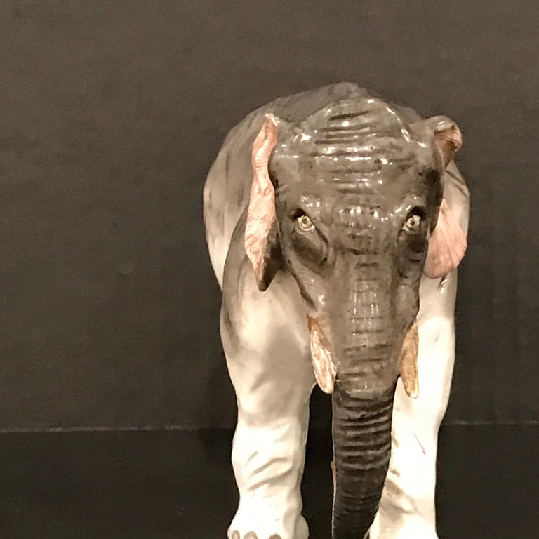 Painted Meissen Model of an Elephant For Sale