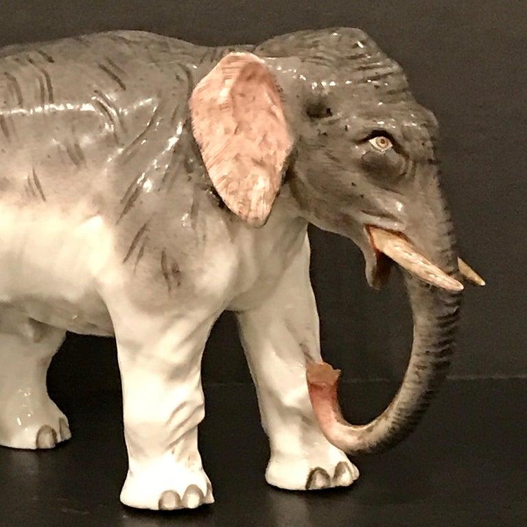 19th Century Meissen Model of an Elephant For Sale
