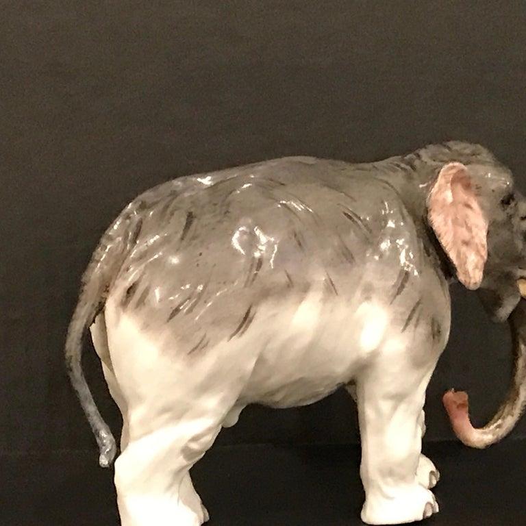 Porcelain Meissen Model of an Elephant For Sale