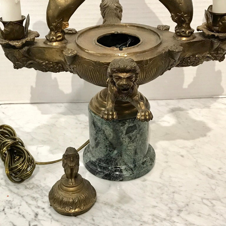 Italian Grand Tour Bronze Roman Oil Lamp, Now Electrified For Sale