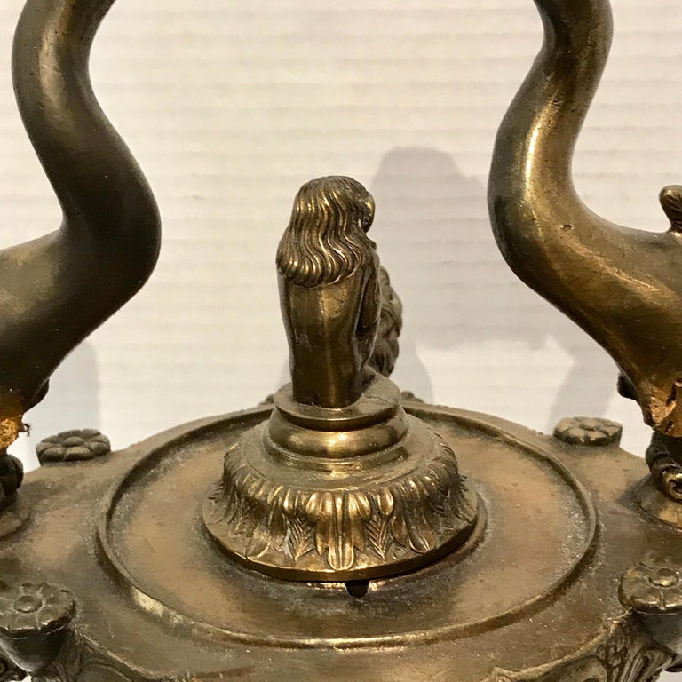 Grand Tour Bronze Roman Oil Lamp, Now Electrified In Good Condition For Sale In Atlanta, GA