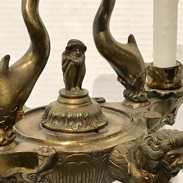 Grand Tour Bronze Roman Oil Lamp, Now Electrified For Sale 7