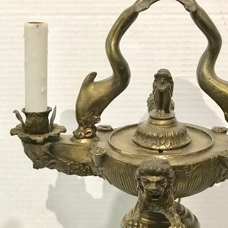 Grand Tour Bronze Roman Oil Lamp, Now Electrified For Sale 15