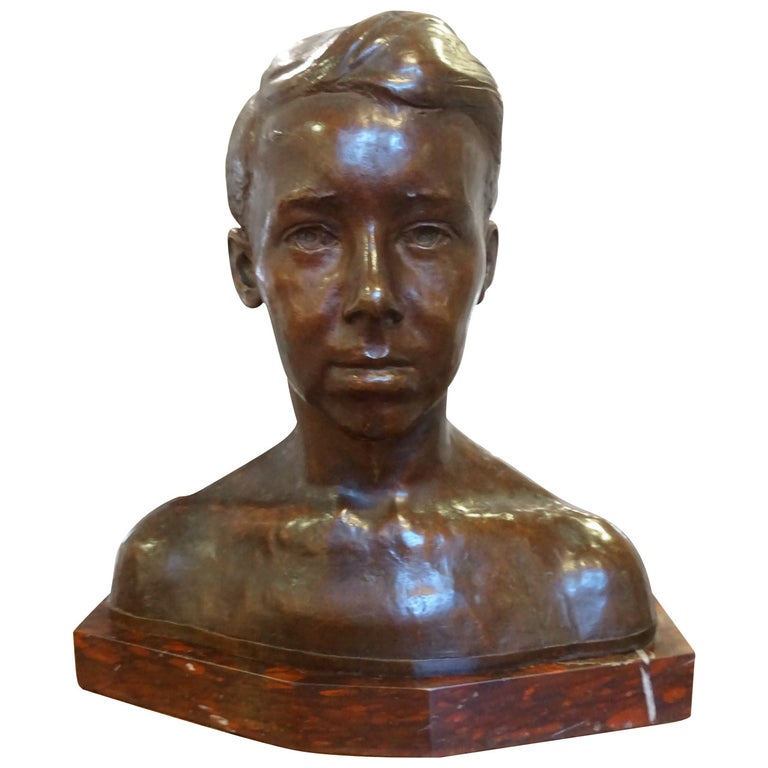 Bronze Bust of a Young Boy by Albert Laessle