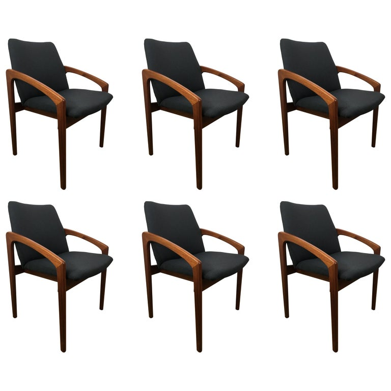 Upholstery Six Danish Modern, Teak Cantilever Dining Chairs For Sale