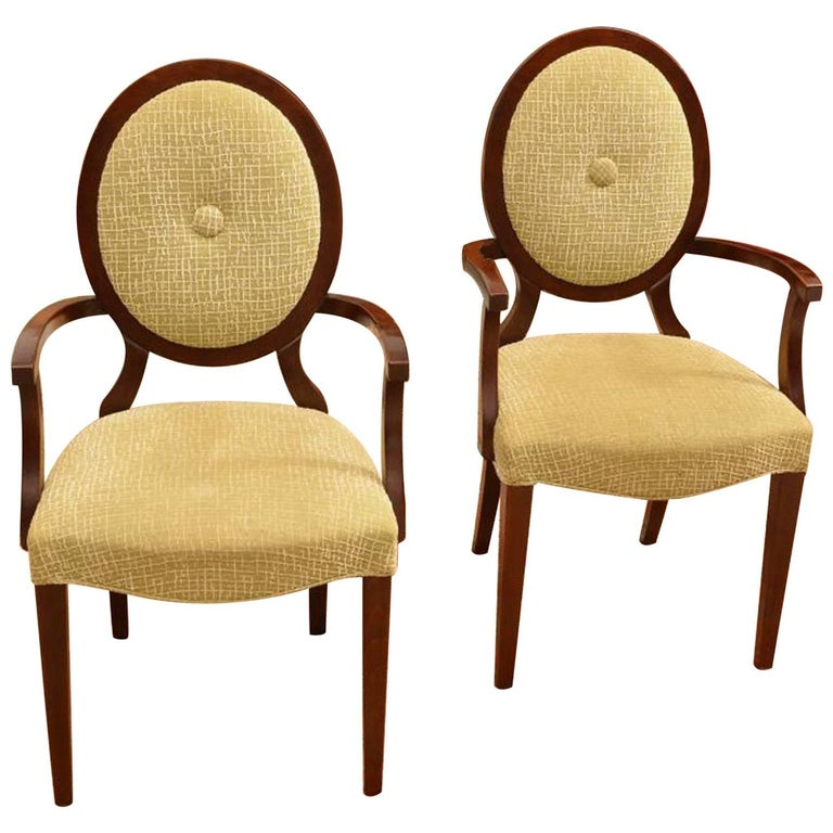 Pair of Barbara Barry for Baker Medallion Back Armchairs