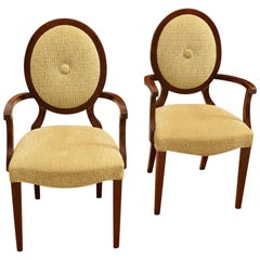Pair of Barbara Barry Style Medallion Back Armchairs