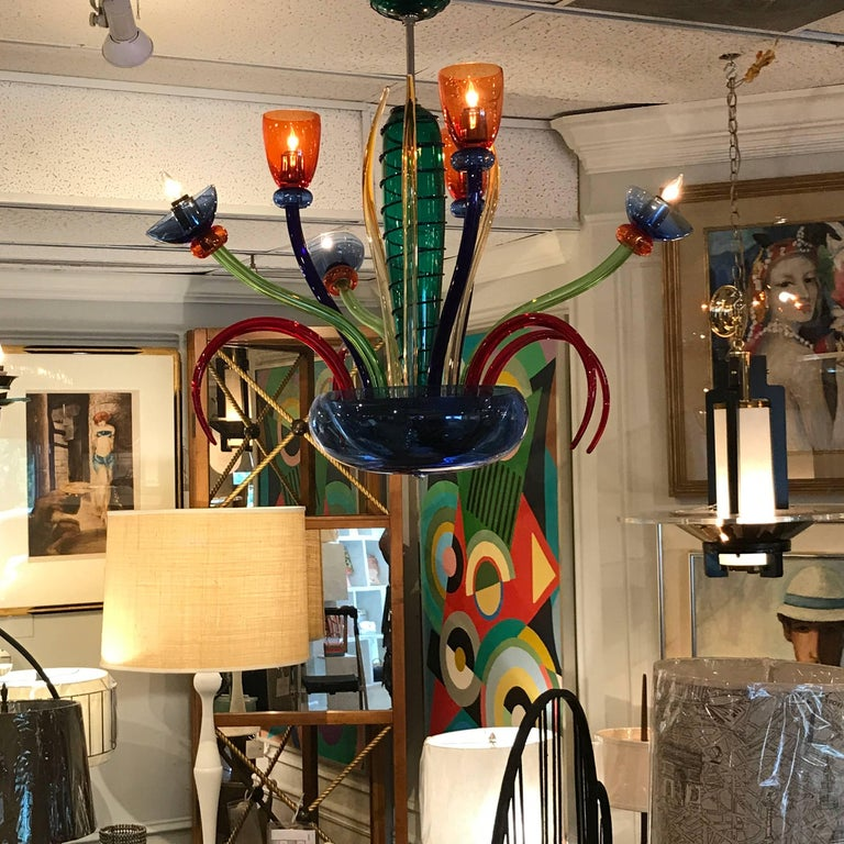 Colorful Italian Artimede Ve-Art Glass Chandelier in the Manner of Gio Ponti For Sale 7