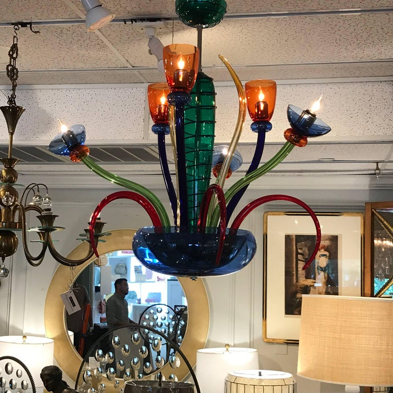 Colorful Italian Artimede Ve-Art Glass Chandelier in the Manner of Gio Ponti For Sale 6