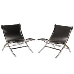 Pair of Flexform Chromed Steel and Black Leather Lounge Chairs