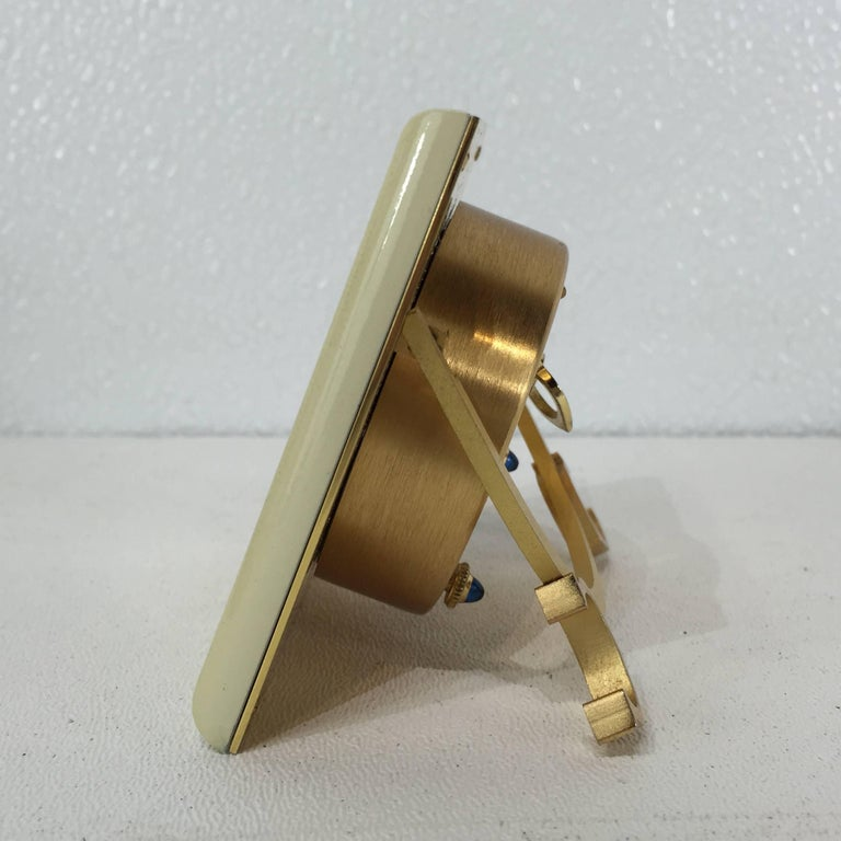 Mid-Century Modern Gilt Bronze and Enamel Cartier Clock For Sale