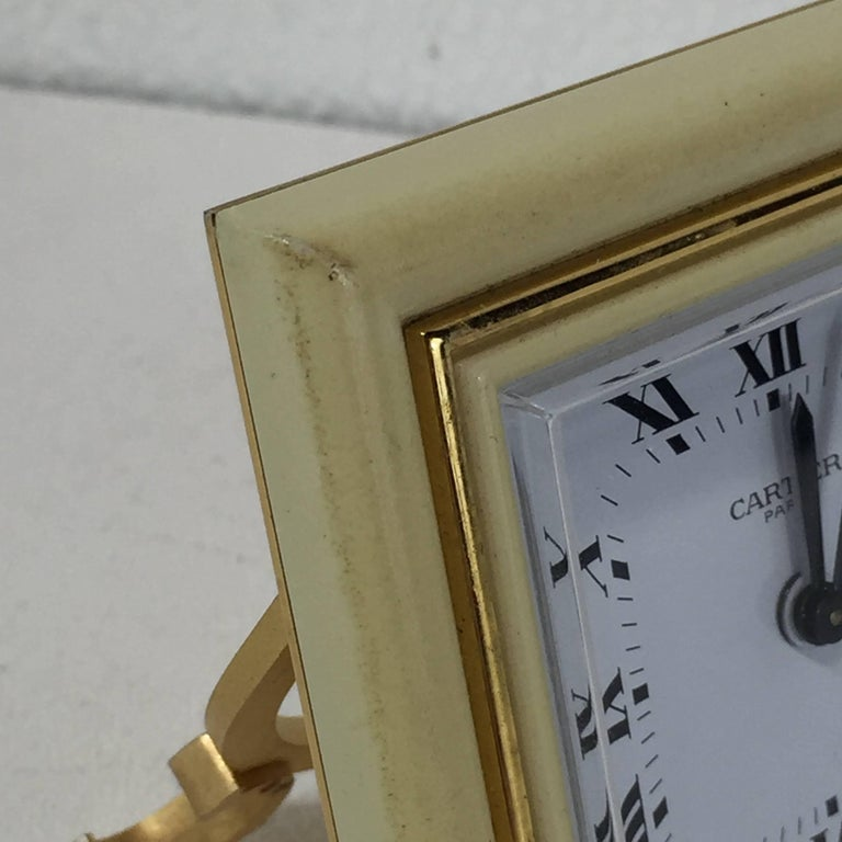 French Gilt Bronze and Enamel Cartier Clock For Sale