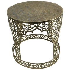 Syrian Brass Garden Seat with Silver Inlay