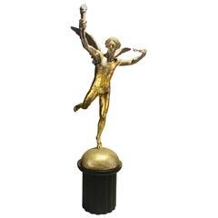 """Monumental Gold Leaf Sculpture """"The Genie de la Liberté"""" After Auguste Dumont"""