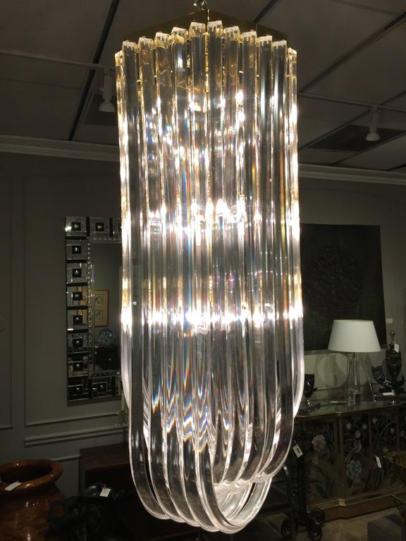 watch 99eae fa2bf Midcentury Long Lucite Ribbon Chandelier