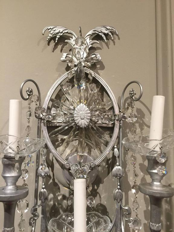 European Gorgeous Pair of Neoclassical Crystal Wall Sconces For Sale