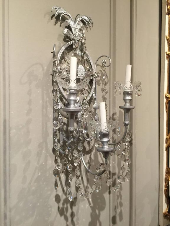 Silvered Gorgeous Pair of Neoclassical Crystal Wall Sconces For Sale