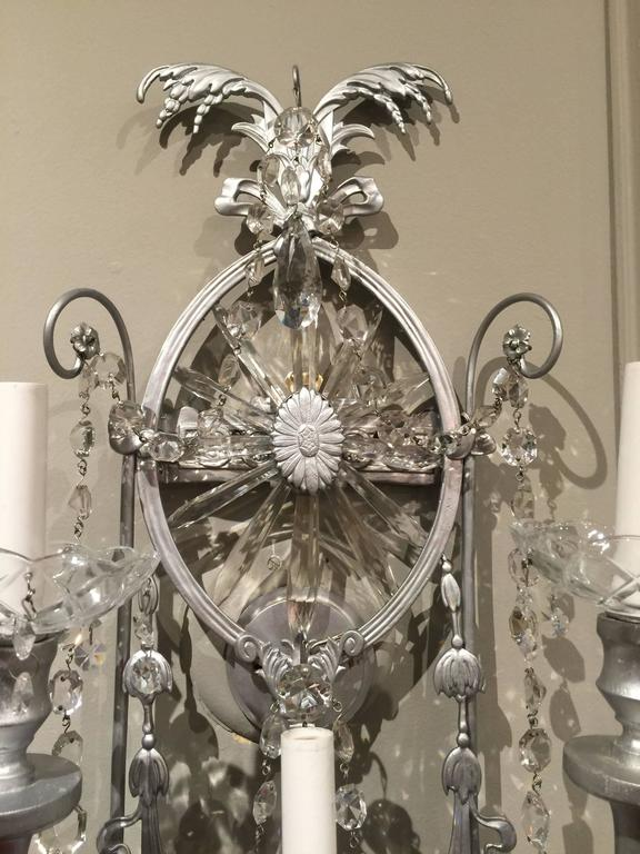Gorgeous Pair of Neoclassical Crystal Wall Sconces In Excellent Condition For Sale In Atlanta, GA