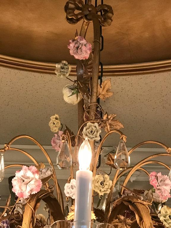 Louis XVI Style Twelve-Light Gilt Bronze Flower Encrusted Chandelier 5