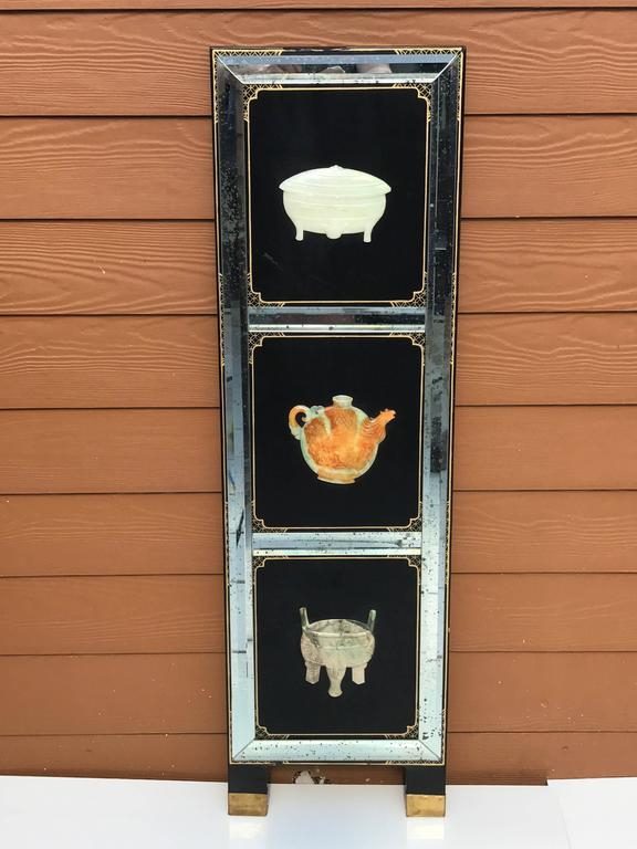 Hand-Carved Four Panel Hardstone and Mirrored Screen