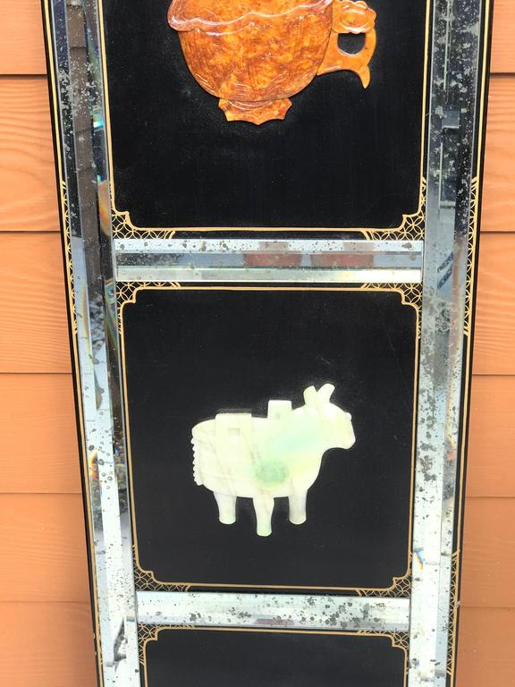 Four Panel Hardstone and Mirrored Screen In Good Condition In Atlanta, GA