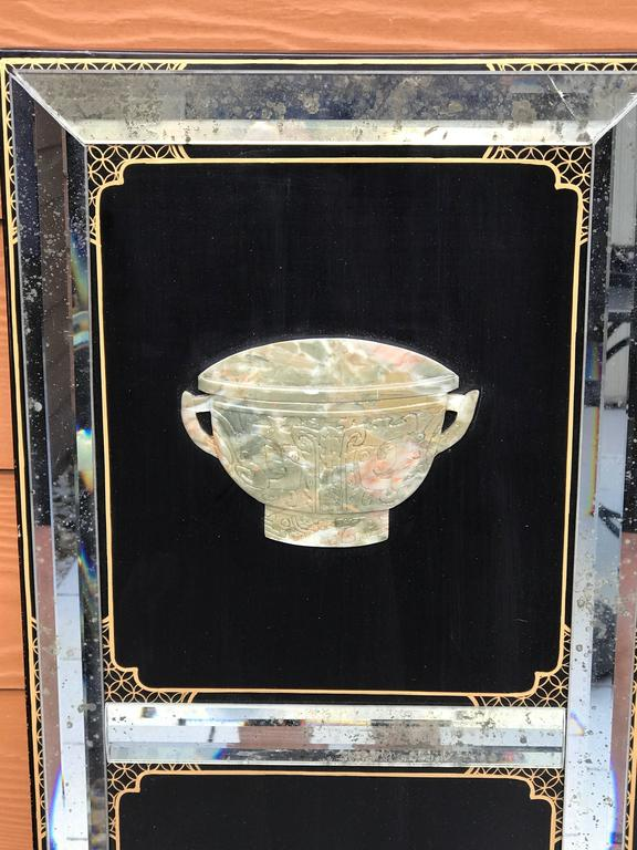 20th Century Four Panel Hardstone and Mirrored Screen