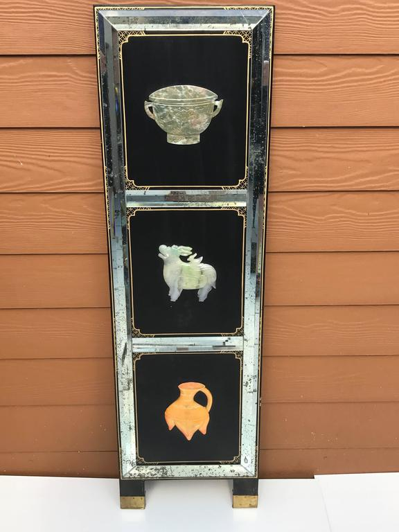 Chinese Four Panel Hardstone and Mirrored Screen