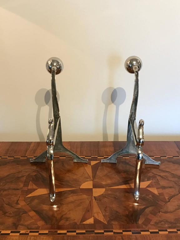 Modern Pair of Silvered Brass