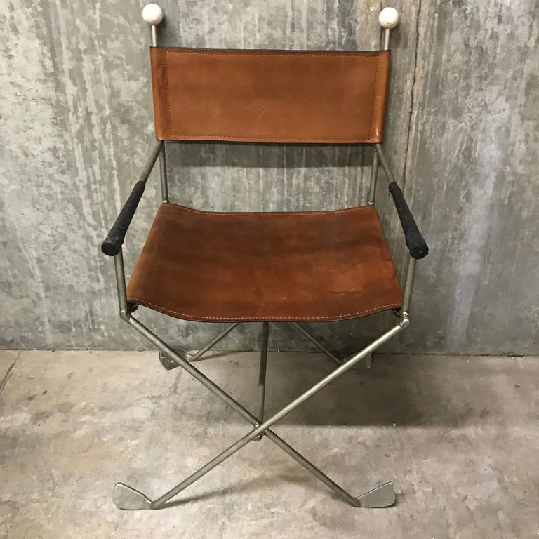 Two Pair Custom Golf Motif Campaign Chairs, Each One With Golf Ball  Finials, Leather