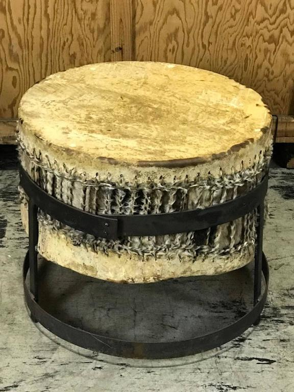 African Drum Coffee Table.African Drum Table With Forged Iron Pedestal Base