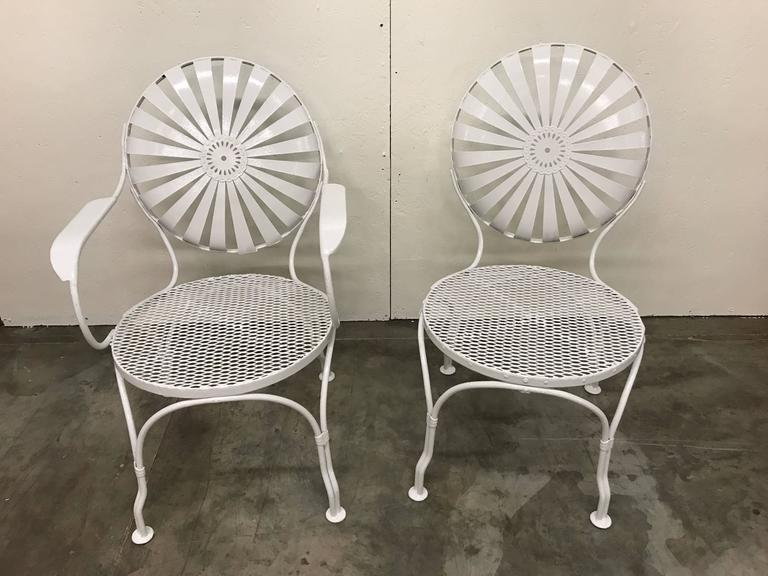 Set Of Six Sunburst Back Garden Chairs By Francois Carr 233