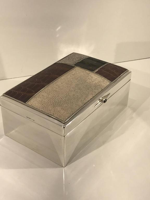Animal Skin Scandinavian Modern Sterling Shagreen and Alligator Box by David Anderson, 1966 For Sale