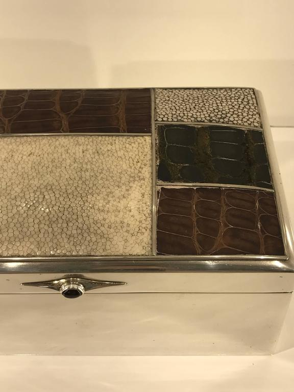 Scandinavian Modern Sterling Shagreen and Alligator Box by David Anderson, 1966 In Good Condition For Sale In Atlanta, GA