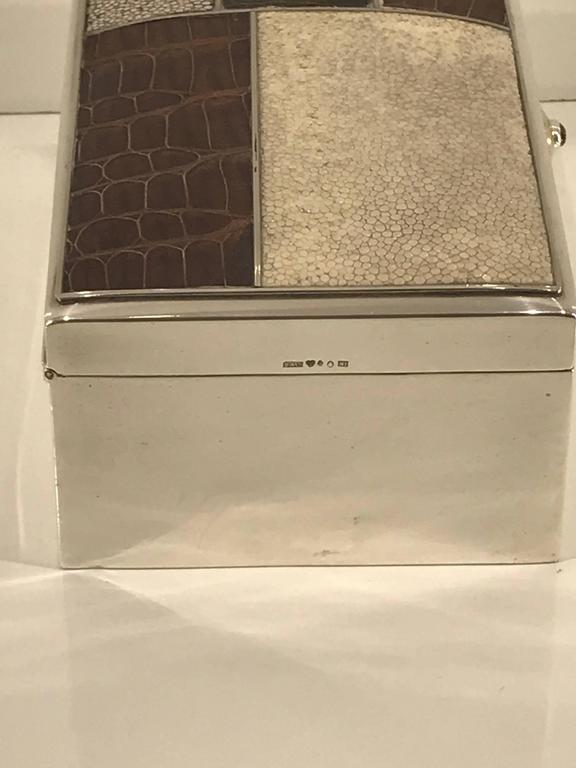 Finnish Scandinavian Modern Sterling Shagreen and Alligator Box by David Anderson, 1966 For Sale