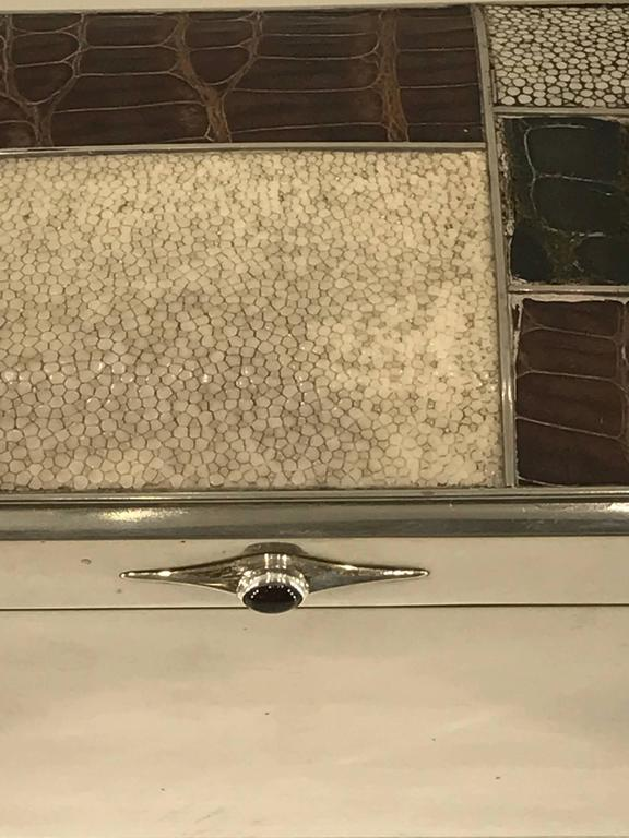 Scandinavian Modern Sterling Shagreen and Alligator Box by David Anderson, 1966 For Sale 1
