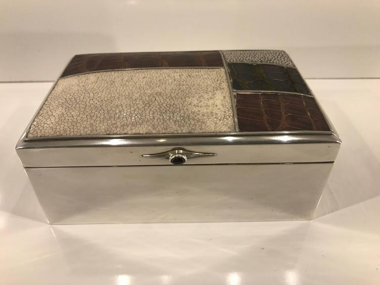 Scandinavian Modern sterling shagreen & alligator box, by David Anderson, 1966. Sterling mounted specimen white and gray Shagreen, beautiful smooth natural geometric patterns. Complimented by balck and rich mahogany inset alligator panels. The lift