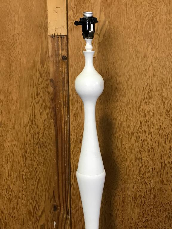 Contemporary Tall Segmented Blanc De Chine Porcelain Floor Lamp After Diego Giacometti For Sale