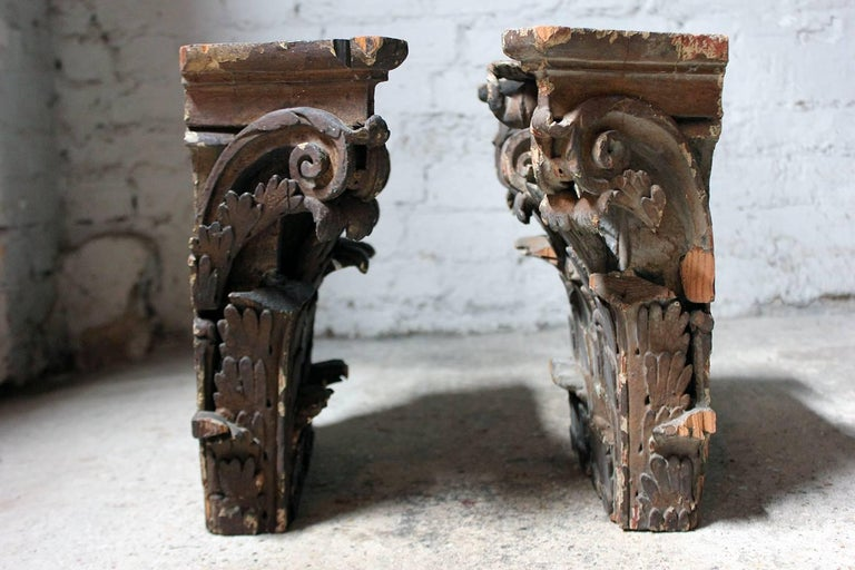 Pair Of Carved Pine And Plaster Painted Corinthian Capital