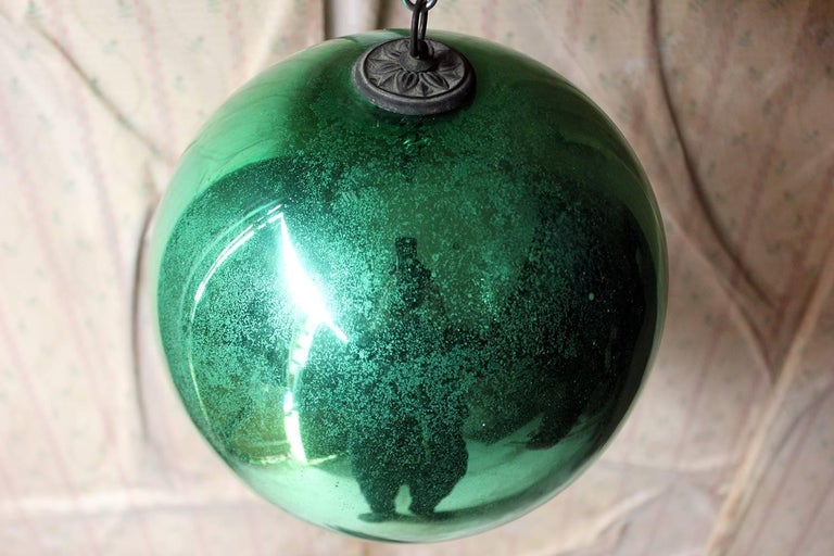 Good Large Green Mercury Glass Witches Ball Circa 1900 At