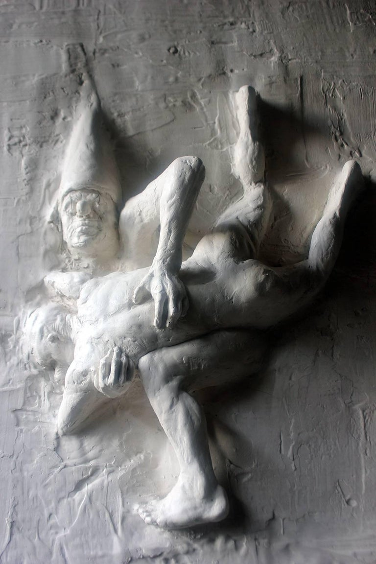 Hand-Carved Beth Carter, Fighting Clowns I, Plaster Relief, Pre-Edition For Sale
