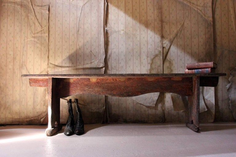 Early 19th Century Continental Painted Pine Bench, circa 1830-1840 For Sale 12
