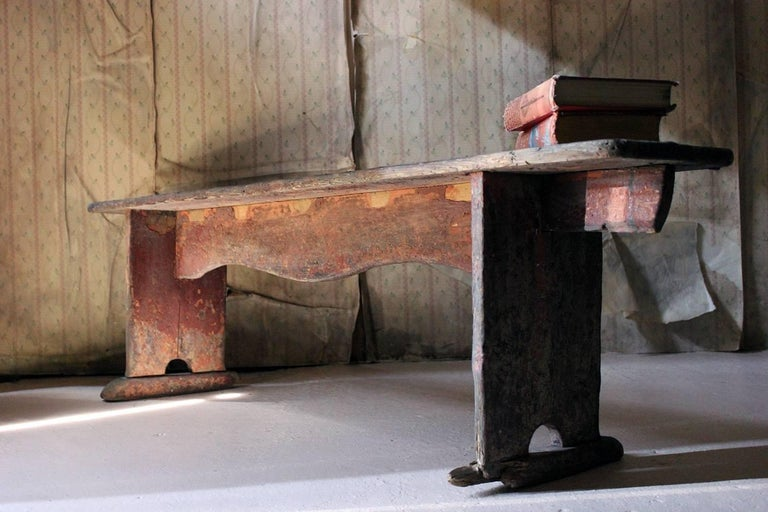 Early 19th Century Continental Painted Pine Bench, circa 1830-1840 For Sale 11