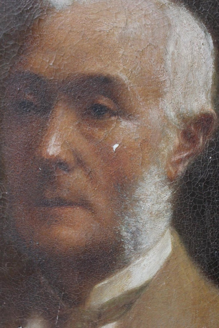 Oil on Board Portrait of Augustus William Dubourg, by R.S. Moseley RA In Distressed Condition For Sale In Bedford, Bedfordshire
